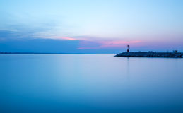 Seascape sunset with intense colors. Long exposure. Rimini adria Stock Photos