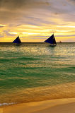 Sunset  landscape. Sailboat on coast of Boracay is Stock Images