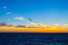 Seascape at sunset light Stock Photos