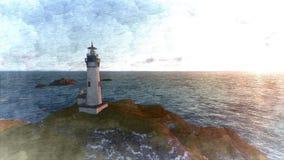 Seascape at sunset. Lighthouse on the coast. 3d rendering Seascape at sunset. Lighthouse on the coast 6 vector illustration