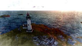 Seascape at sunset. Lighthouse on the coast. 3d rendering Seascape at sunset. Lighthouse on the coast 5 royalty free illustration