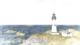 Seascape at sunset. Lighthouse on the coast. 3d rendering Seascape at sunset. Lighthouse on the coast 8 royalty free illustration