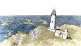 Seascape at sunset. Lighthouse on the coast. 3d rendering Seascape at sunset. Lighthouse on the coast 10 stock illustration