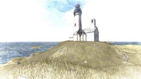 Seascape at sunset. Lighthouse on the coast. 3d rendering Seascape at sunset. Lighthouse on the coast 9 stock illustration