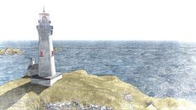 Seascape at sunset. Lighthouse on the coast. 3d rendering Seascape at sunset. Lighthouse on the coast 7 stock illustration