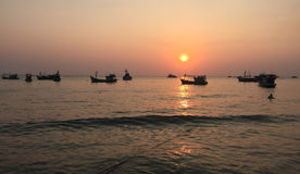 Seascape at the sunset in Phu Quoc, Vietnam Royalty Free Stock Photos