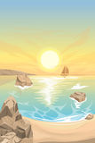 Seascape sunset. Vector landscape Royalty Free Stock Photography