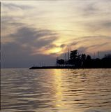 Seascape Switzerland Vaud Cully Sunset Harbor Water Reflections Stock Photography