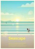 Seascape tło z dennym widokiem w ranku Fotografia Stock
