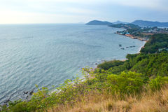 Seascape on top view. Seascape view from top of mountain Royalty Free Stock Image
