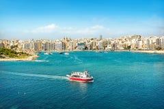Seascape. With touristic boat. Valletta. Malta Royalty Free Stock Photo