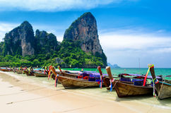 Traditional thai boats at the beach of Krabi provi Stock Photography