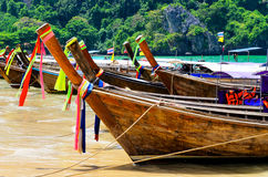 Traditional thai boats at the beach of Krabi provi Stock Image