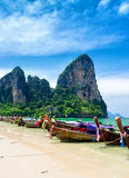 Traditional thai boats at the beach of Krabi provi Royalty Free Stock Photography