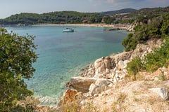 Seascape with Tristinikouda Beach at Sithonia peninsula, Chalkidiki, Central Macedonia, Greece. Amazing seascape with Tristinikouda Beach at Sithonia peninsula royalty free stock photo