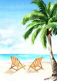 Seascape.Tropical beach with sea, white sand, sun loungers and palms, summer vacation concept and vertical background. Hand drawn