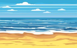 Seascape Tropical Beach Travel Holiday Vacation Leisure Nature Concept, ocean, sea, shore, vector illustration royalty free illustration