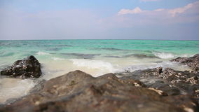Seascape with turquoise water stock video footage