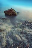 Seascape under solnedgång Royaltyfri Bild