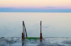 Seascape under solnedgången i Odesaen av Ukraina fotografering för bildbyråer