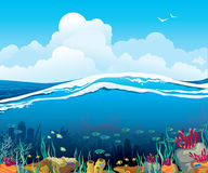 Seascape with underwater creatures and  cloudy sky Stock Photos