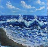 Seascape vågor av havet, blå himmel, moln, olje- målning Arkivfoto