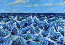 Seascape vågor av havet, blå himmel, moln, olje- målning Royaltyfria Foton
