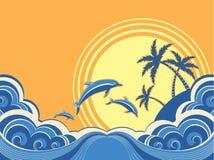 Seascape vågr affischen med delfiner. vektor illustrationer