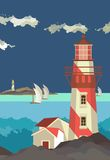 Seascape. Vector illustration sea landscape with a lighthouse in the foreground in a flat style Stock Photo
