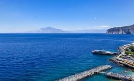 Seascape with Vesuvius volcano in Sorrento. Italy Stock Photo