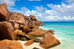 Seascape view. Seychelles, LaDigue island Stock Photography