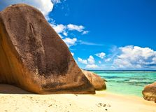 Seascape view. Excellent beach with a big stones, Seychelles, LaDigue island Stock Photography