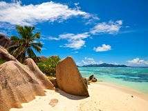 Seascape view. Excellent beach with a big stones, Seychelles, LaDigue island Royalty Free Stock Photo