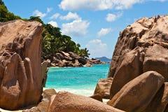 Seascape view. Seychelles, LaDigue island Stock Photos
