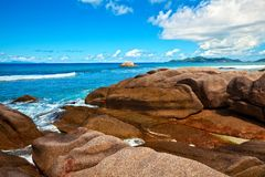 Seascape view. With a huge stones, Seychelles, LaDigue island Stock Images