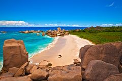 Seascape view. Nice beach with a huge stones, Seychelles, LaDigue island Royalty Free Stock Image