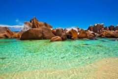 Seascape view. With a huge stones, Seychelles, LaDigue island Stock Photography
