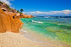 Seascape view. With a huge stones, Seychelles, LaDigue island Royalty Free Stock Photo