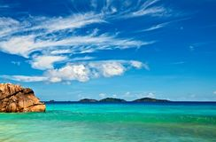 Seascape view. With a huge stone, Seychelles, LaDigue island Stock Photography