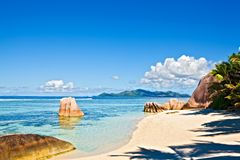 Seascape view. With a huge stones, Seychelles, LaDigue island Stock Photo