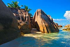 Seascape view. With a huge stones, Seychelles, LaDigue island Stock Photos