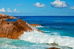 Seascape view. With a huge stones, Seychelles, LaDigue island Royalty Free Stock Image