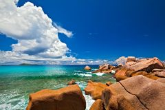Seascape view. With a huge stones, Seychelles, LaDigue island Royalty Free Stock Photos