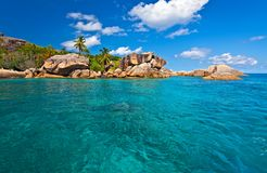 Seascape view. With a huge stones, Seychelles, LaDigue island Royalty Free Stock Images