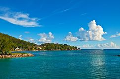 Seascape view. With a huge stones, Seychelles, LaDigue island Stock Image