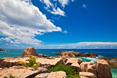Seascape view. With a huge stones, Seychelles, LaDigue island Royalty Free Stock Photography