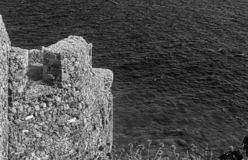 Seascape view from the castle of Monemvasia Peloponnese Greece. Black and white photography stock image