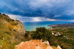 Seascape, view of the city Katsiveli, a fragment of the mountain Koshka, Crimea, Russia royalty free stock photo