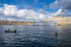 Yachts in the Malta Harbour. A seascape view of a couple of yachts in the Grand Harbour of Malta Stock Image