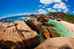 Seascape view  with a huge stones Royalty Free Stock Images